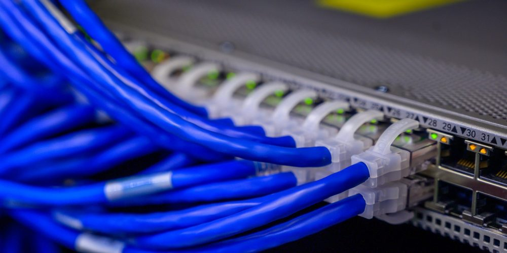 An image of ethernet cables plugged into a network switch.